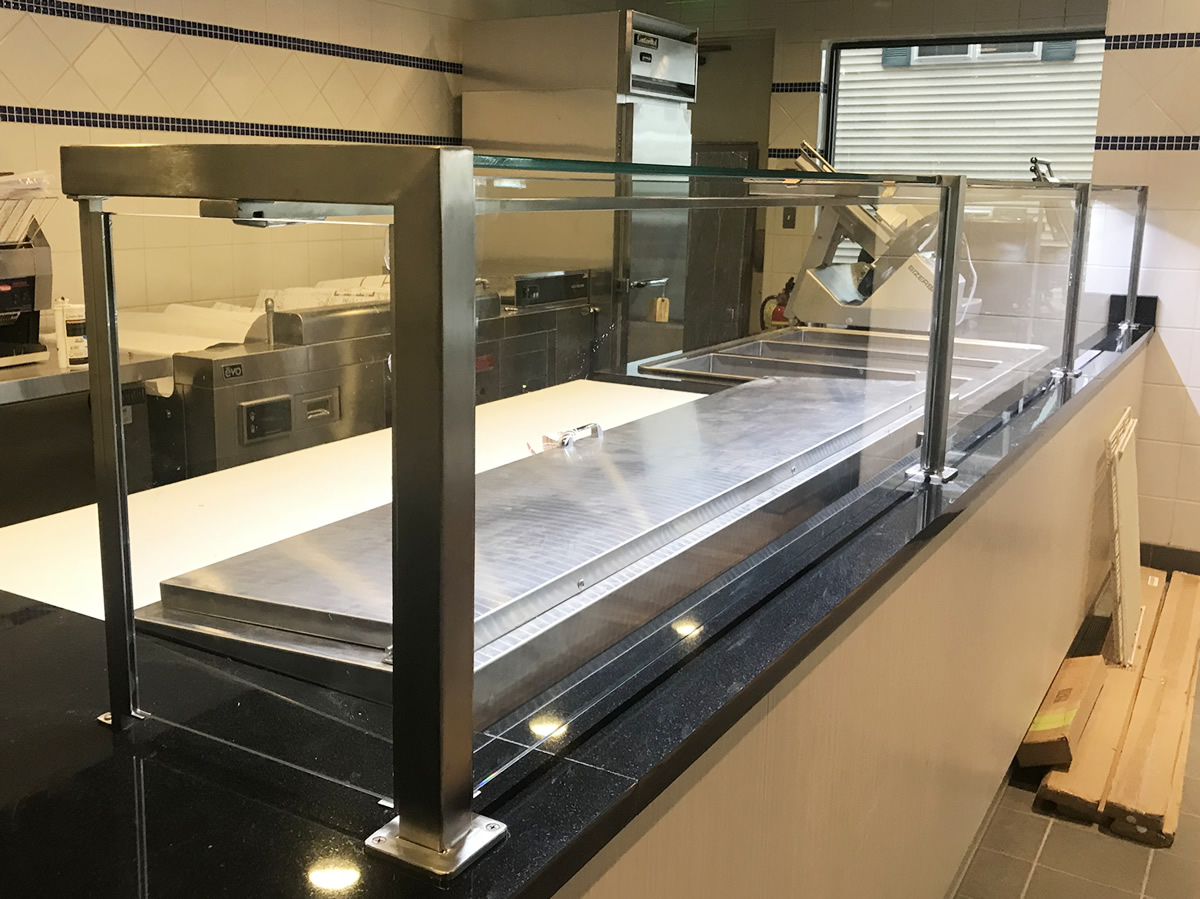 Satin Stainless Steel Food Shield with LED Lights - Stamford, CT