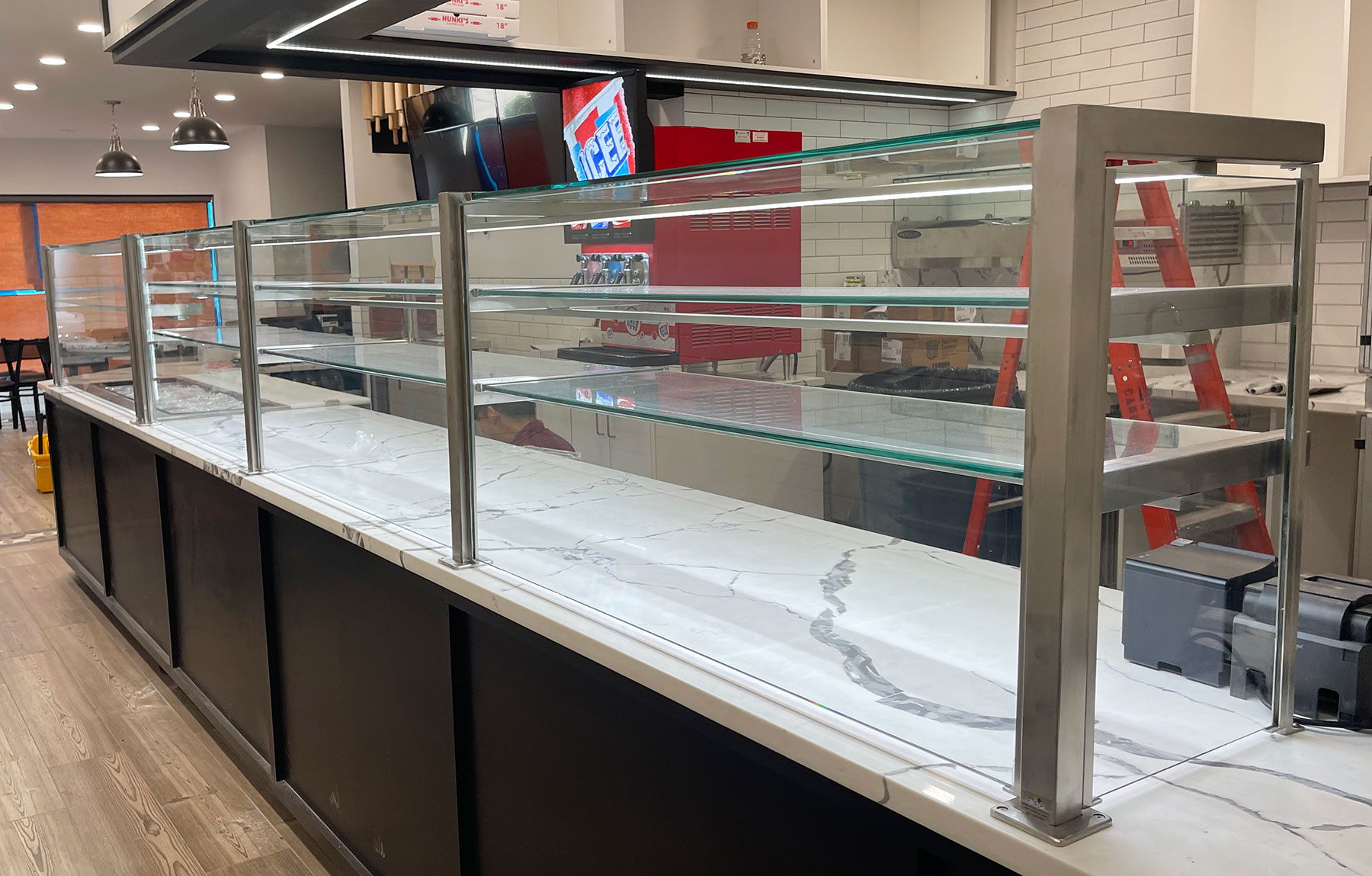 Satin Stainless Steel Cafeteria Food Shield