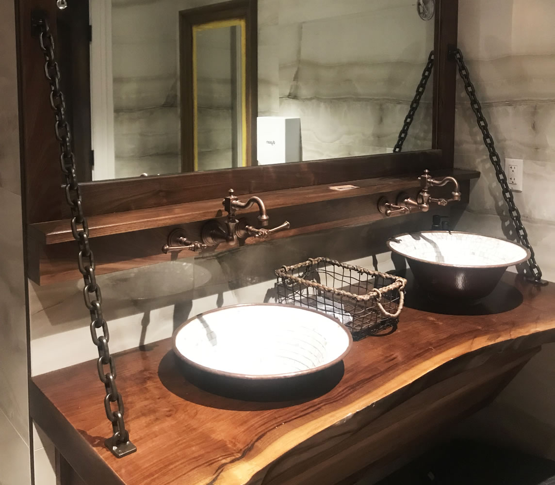 Custom Oil Rubbed Bronze Vanity Chains - Del Vino Vineyards - Northport, NY