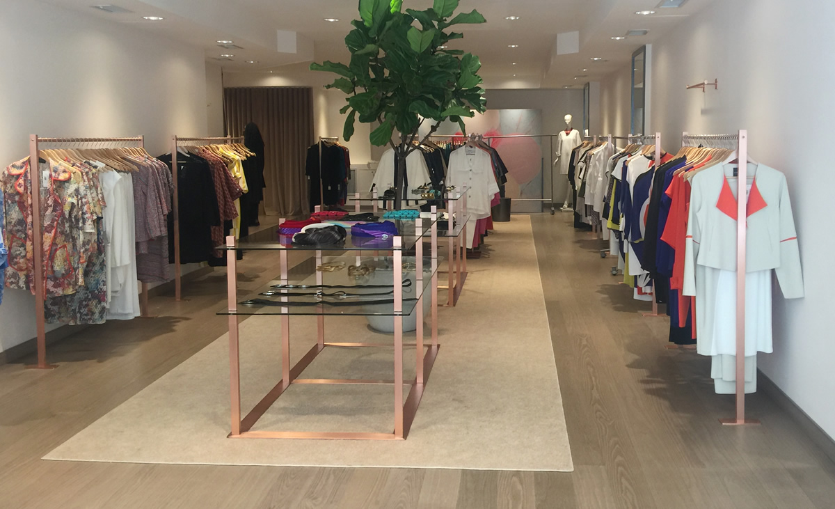 Satin Copper Pipe Clothing Racks & Dispaly Tables - Emmelle Women's Clothing, New York City
