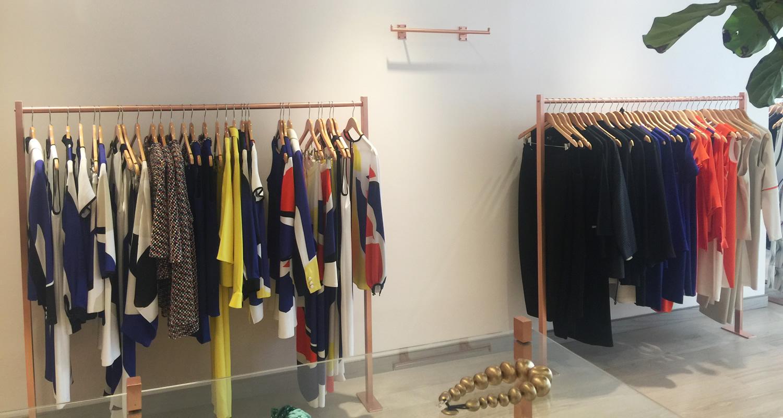 Satin Copper Pipe Clothing Racks - Emmelle Women's Clothing, New York City