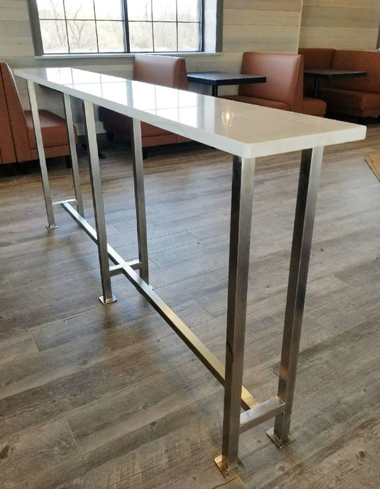 Marble Eating Table with Satin Stainless Steel Posts