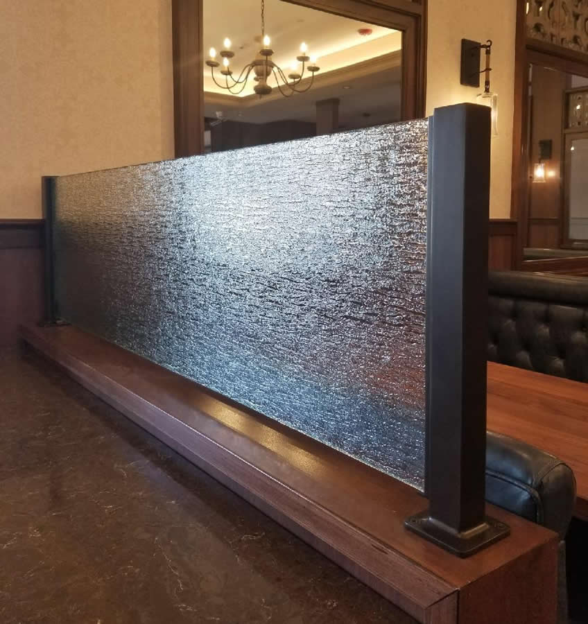 Oil Rubbed Bronze Partition Posts with Rain Glass - Ruggero's Restaurant, Wading River, NY
