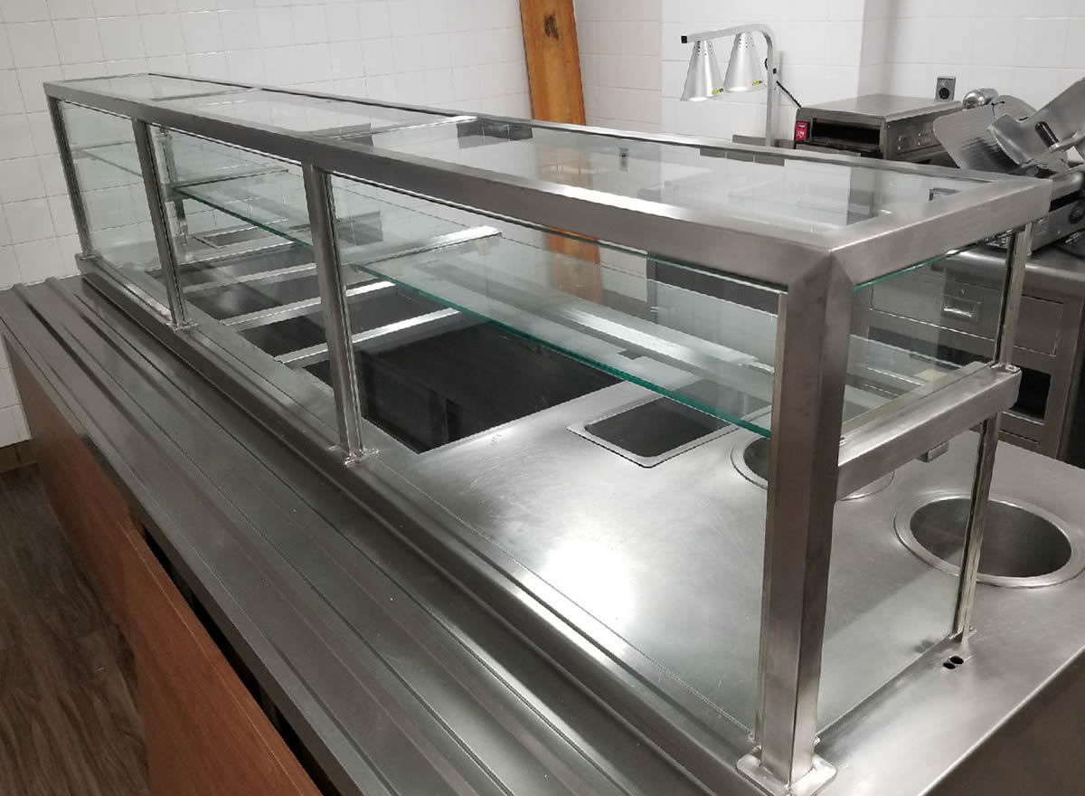 Satin Stainless Steel Staff Service Food Shield with LED Lights - On A Roll