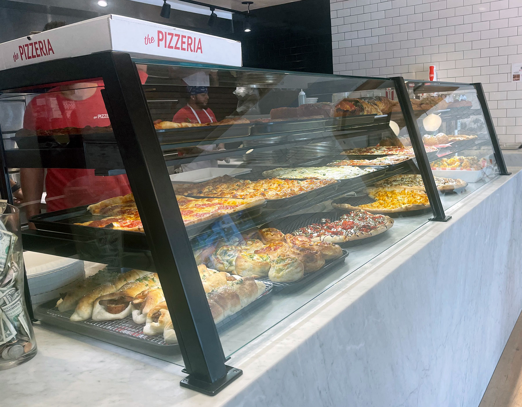 Matte Black Food Shields with LED Lights - The Pizzeria, Islip, NY