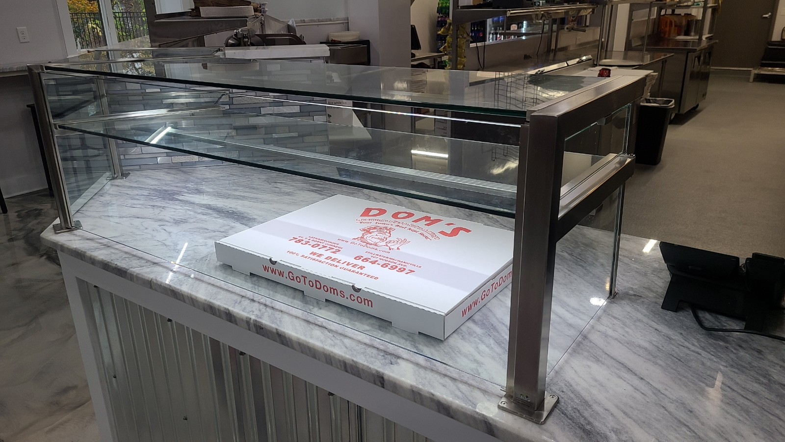 Satin Stainless Steel Food Shield | Dom's Pizza Subs & Wings - Stillwater, NY