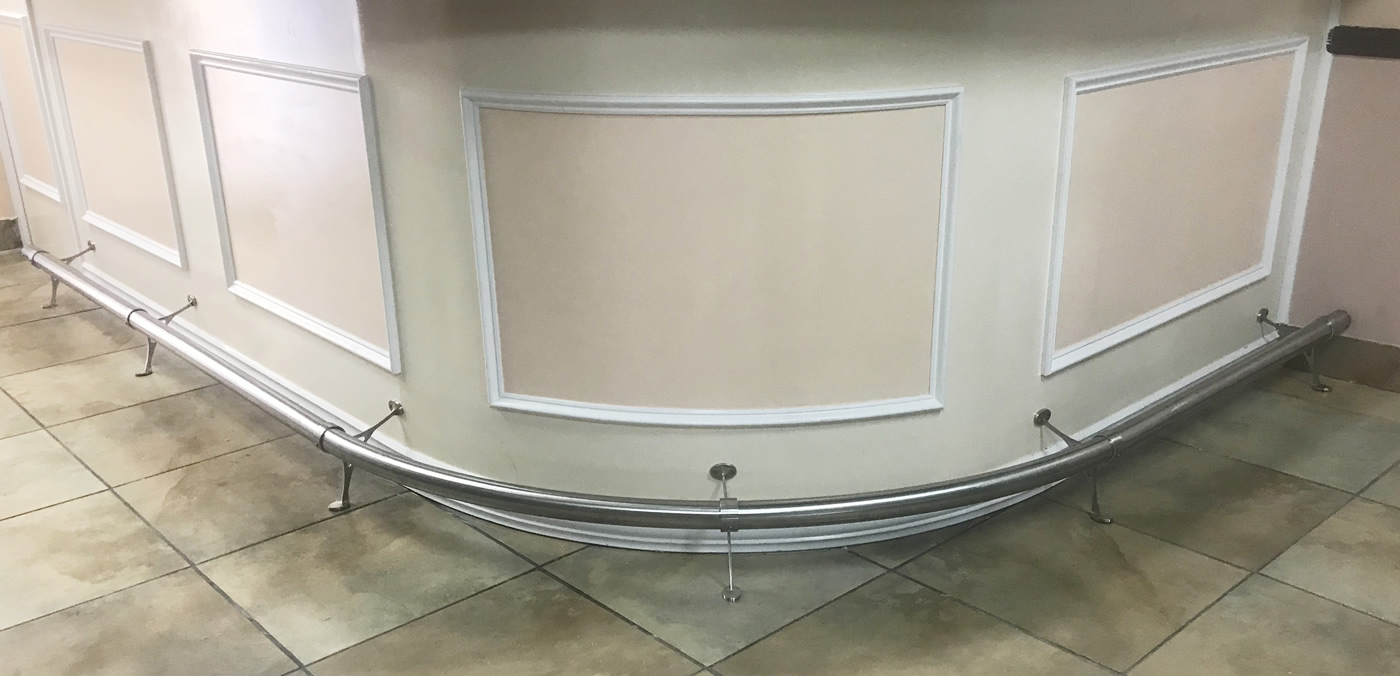 Satin Stainless Steel Curved Foot Rail with 101 Combination Floor Brackets