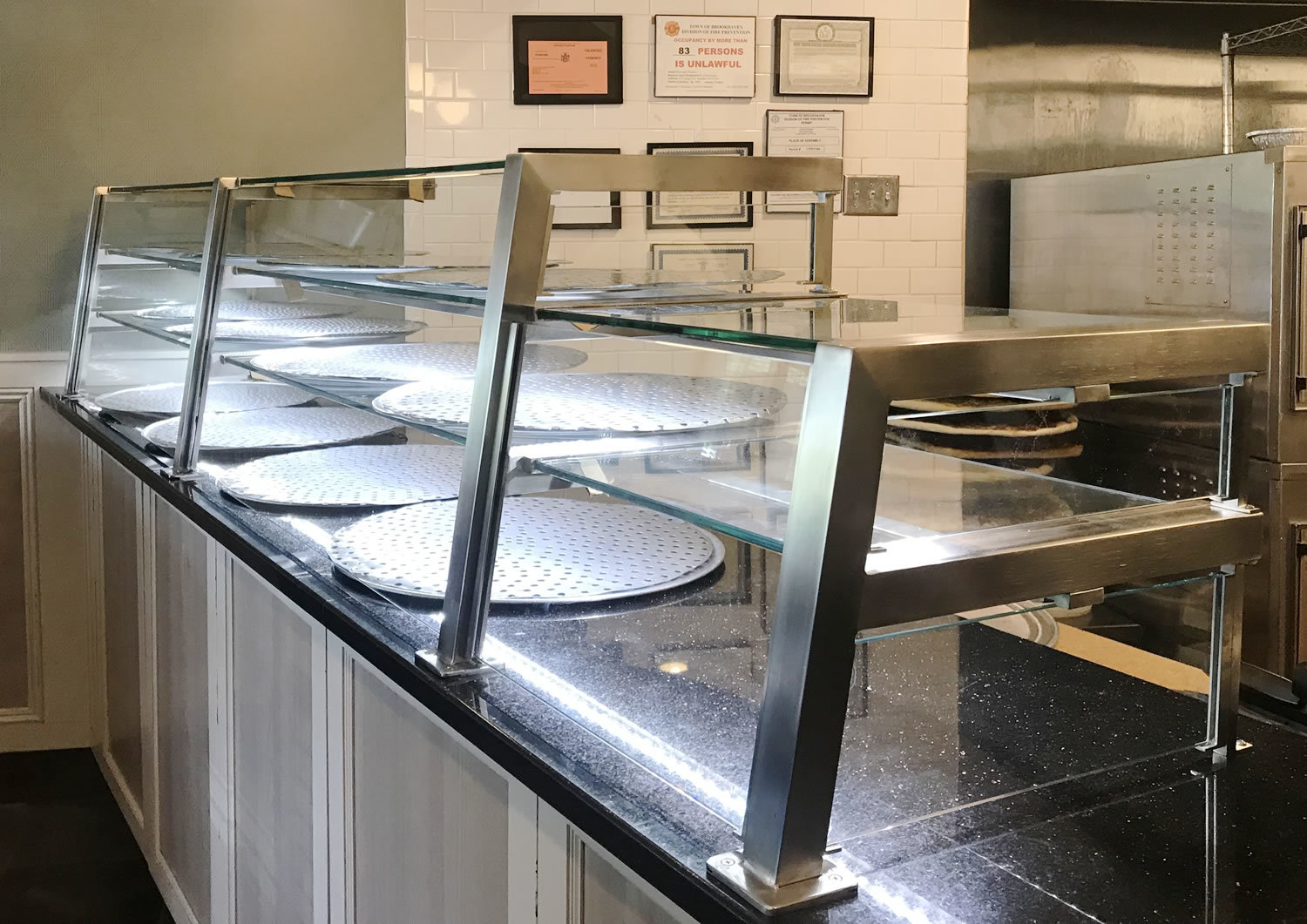 Three Tier Satin Stainless Steel Food Sheild with LED Lights Luigi's  East Setauket, New York