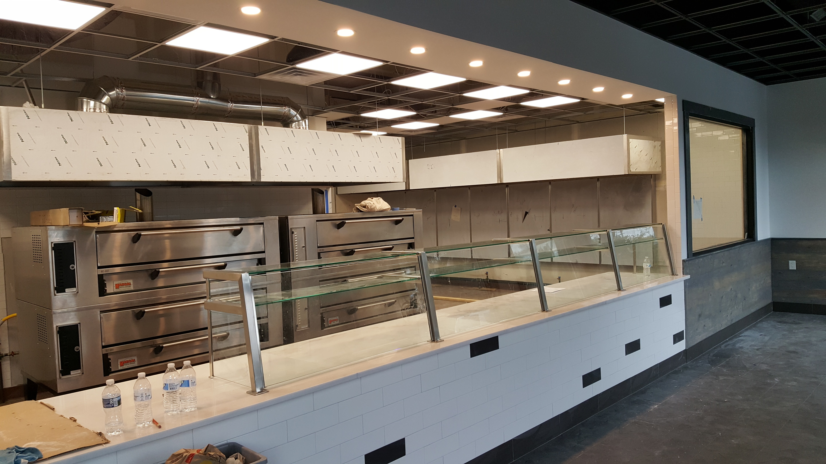 Two Tier Satin Stainless Steel Food Shield with LED Lights - Spatola's Pizza