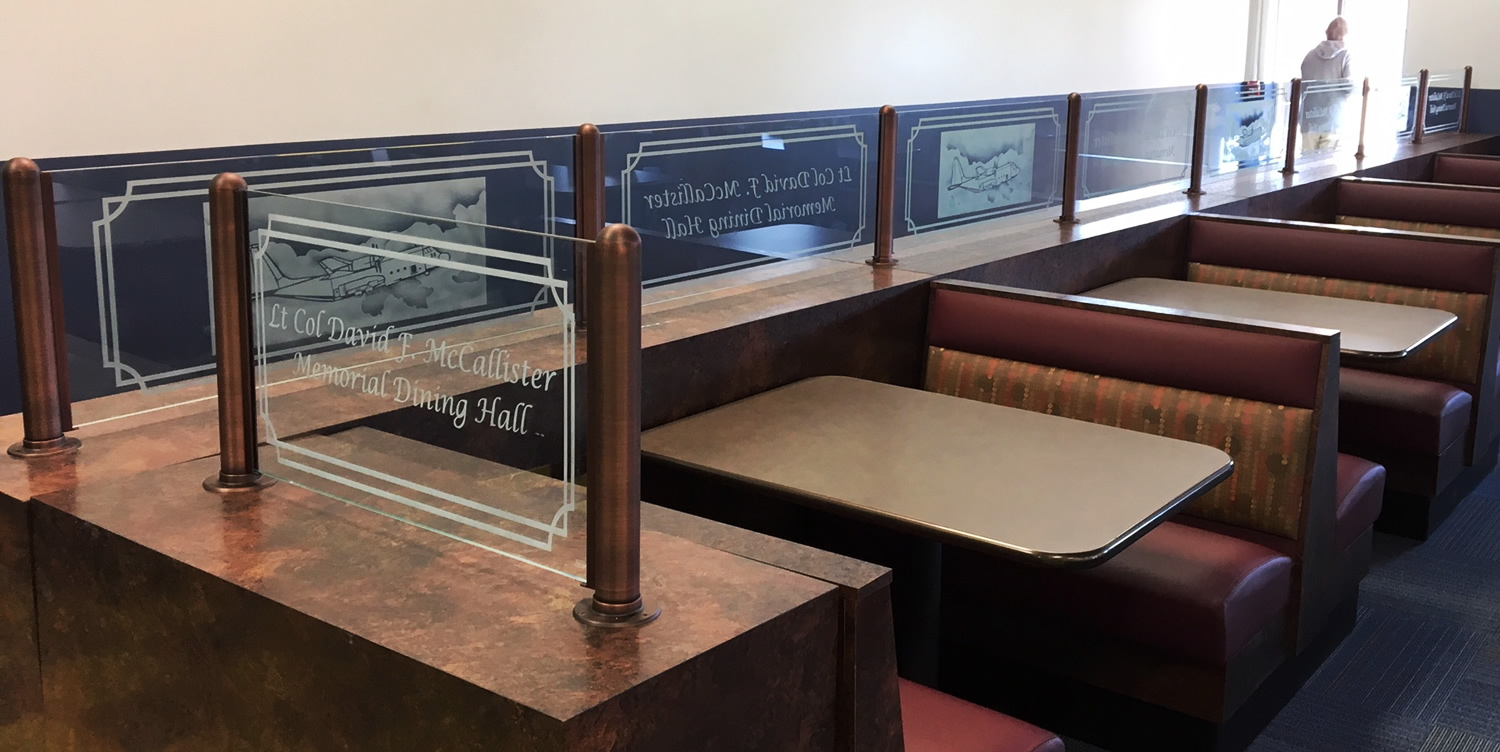 Antique Bronze Partitions with Etched Glass - Air Force Officers Lunch Room