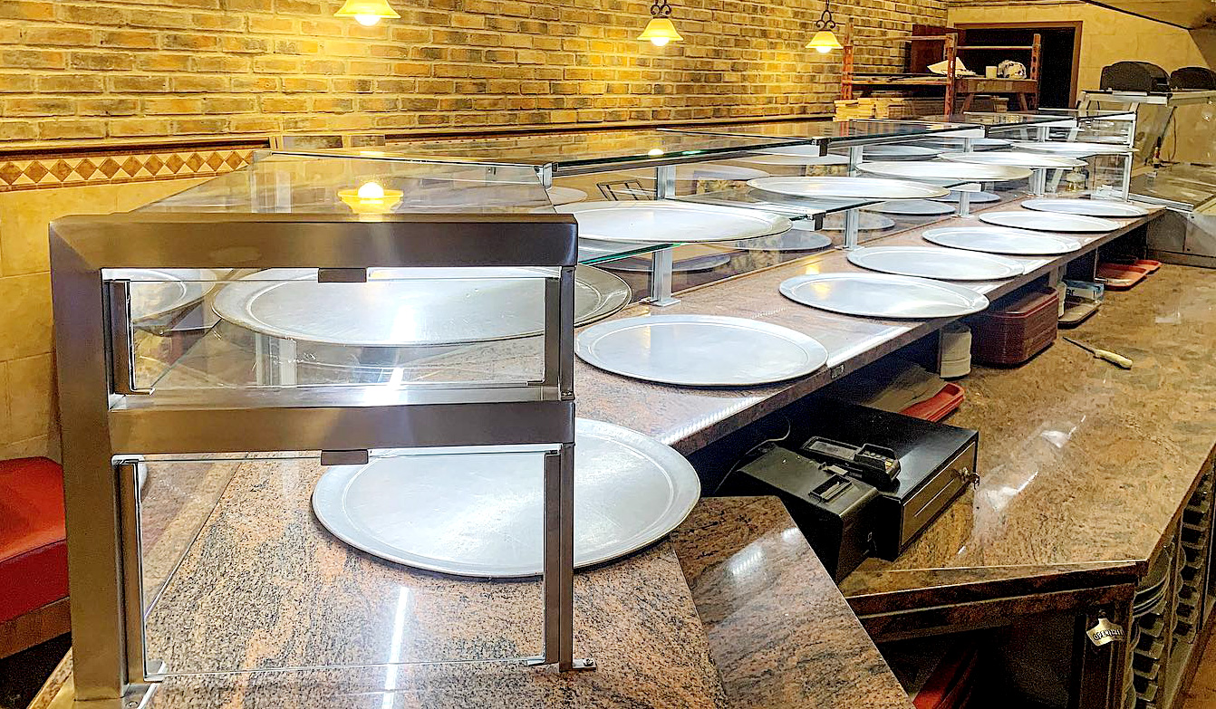 Satin Stainless Steel Food Shield with LED Lights | Alitalia - Center Moriches, NY