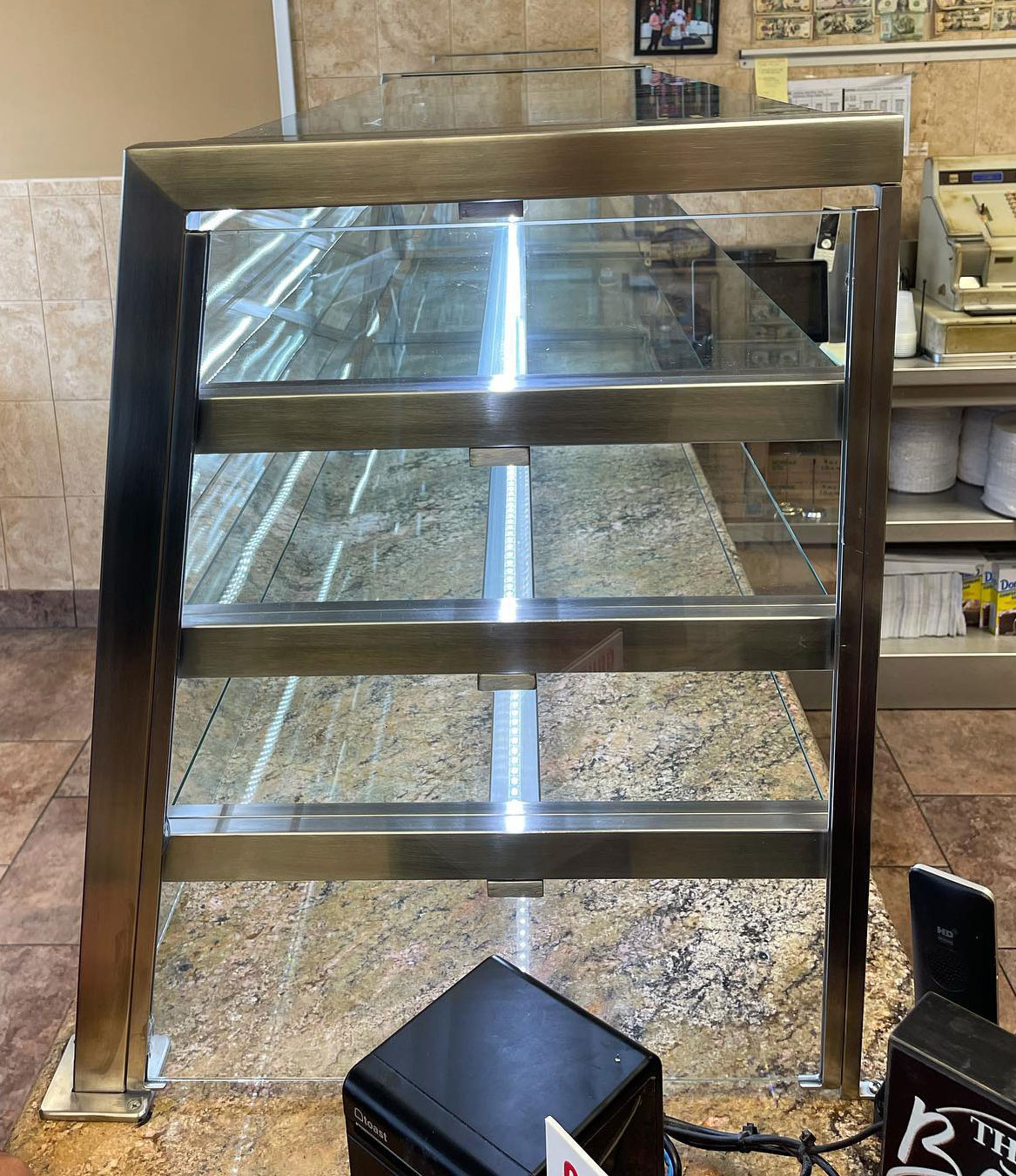 4 Tier Satin Stainless Steel Food Shield with LED Lights | Angela's Pizza - Islip, NY