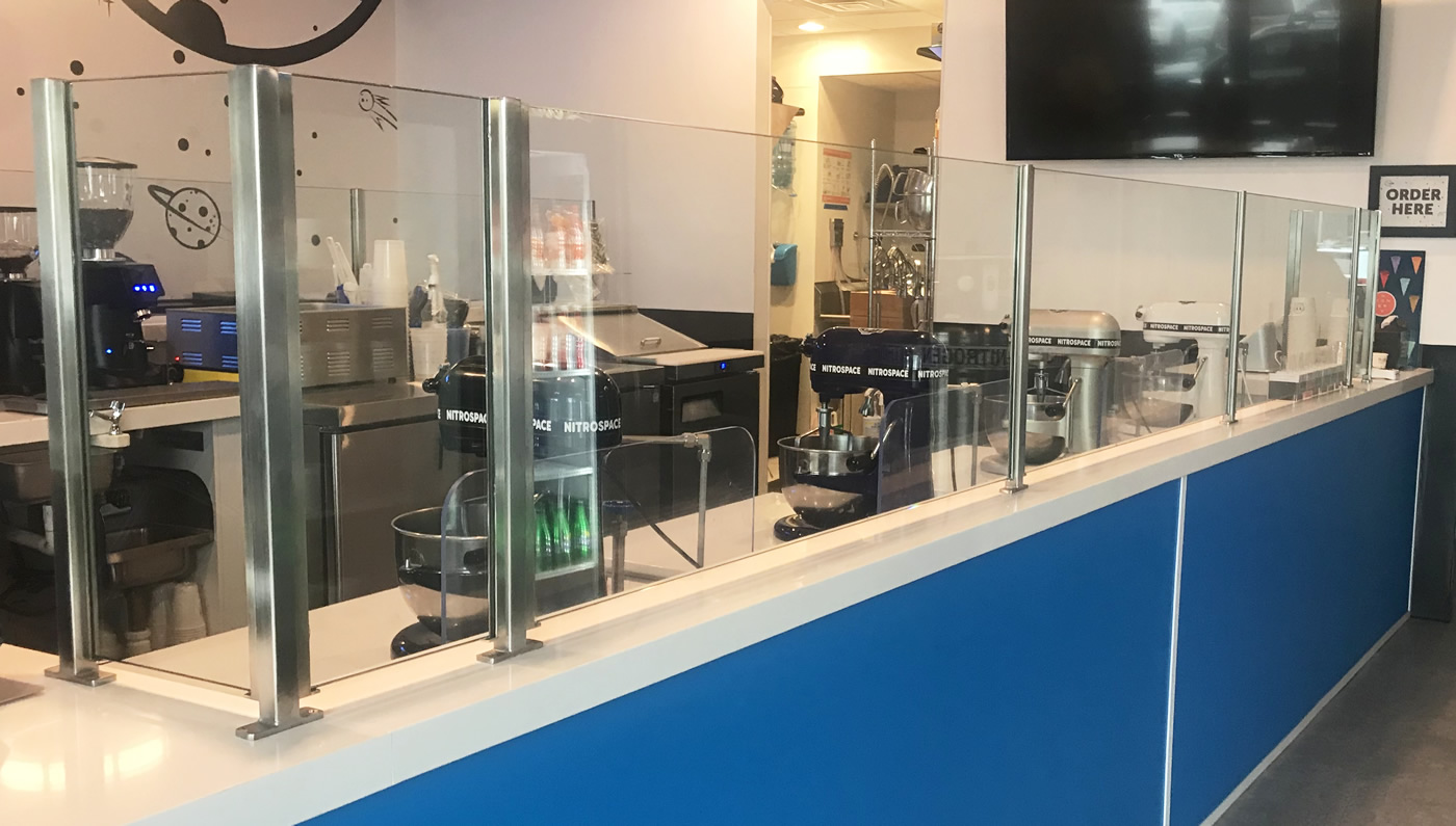 Satin Stainless Steel Partitions: B-Chill Ice Cream - Huntington, NY