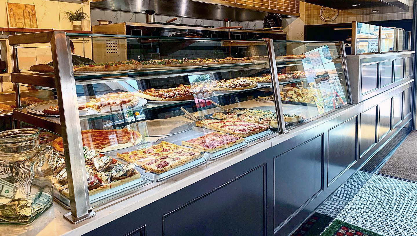 Stainless Steel Food Shield with LED Lights | Brezza Pizza Kitchen - Wading River, NY
