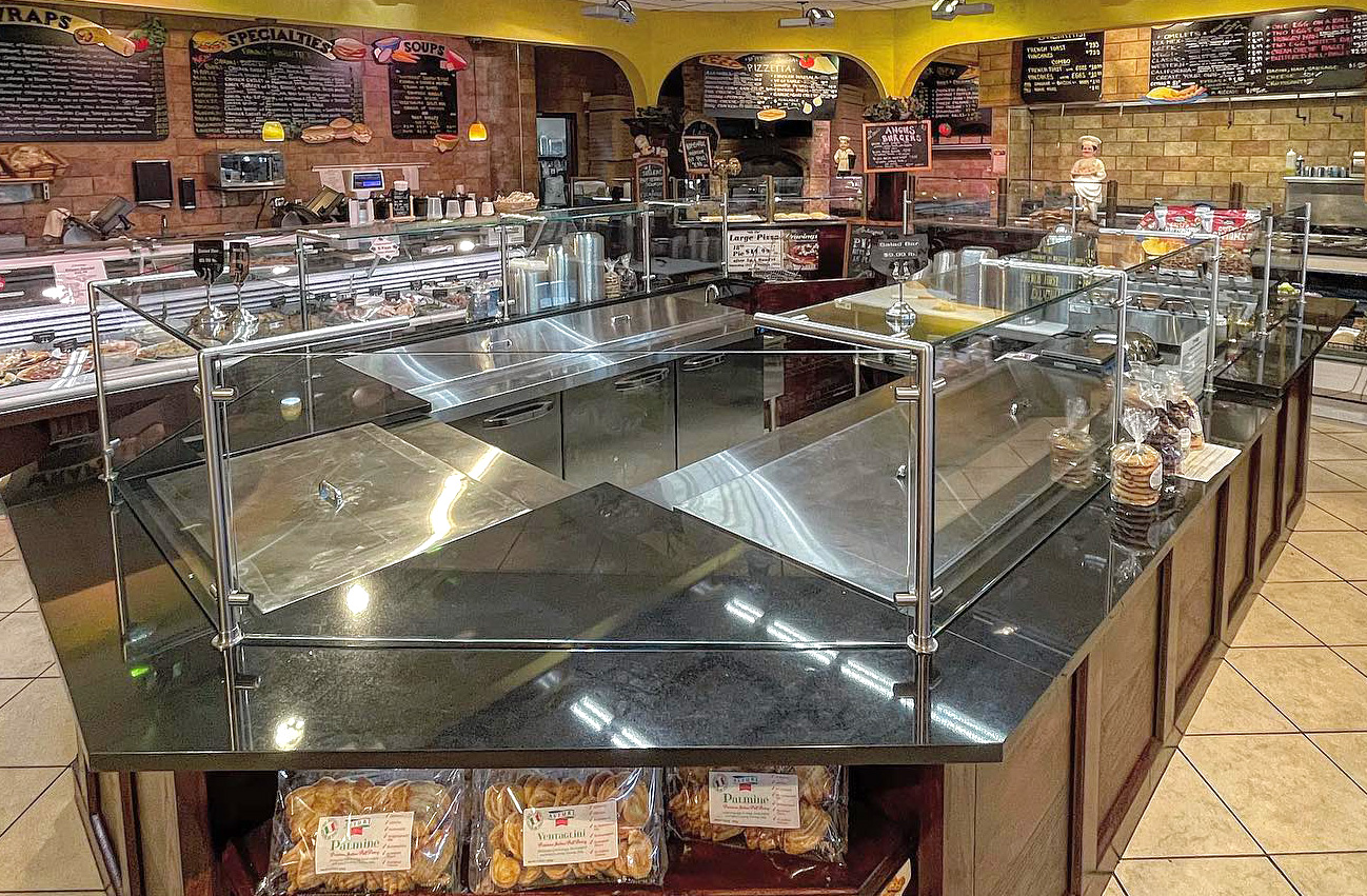 Stainless Steel Partition Post Food Shield | Cravings Market - Plainview, NY