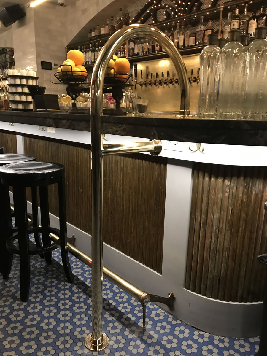 Custom Polished Brass Service Bar Rail