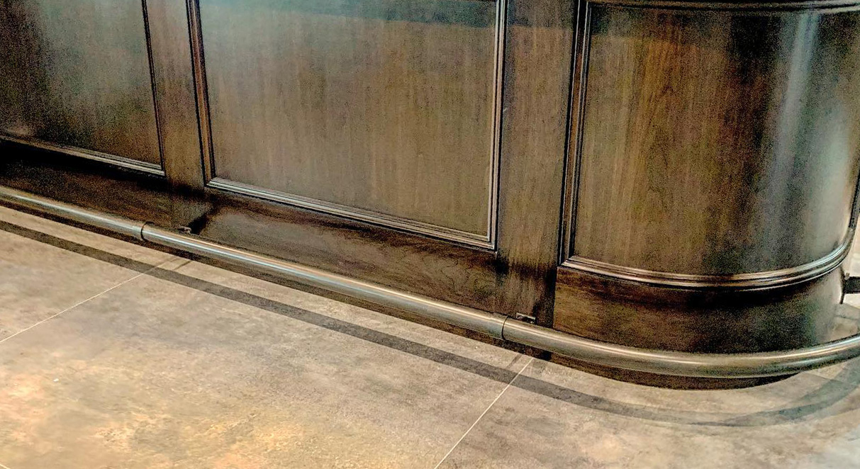 Custom Curved Blacken Satin Stainless Foot Rail