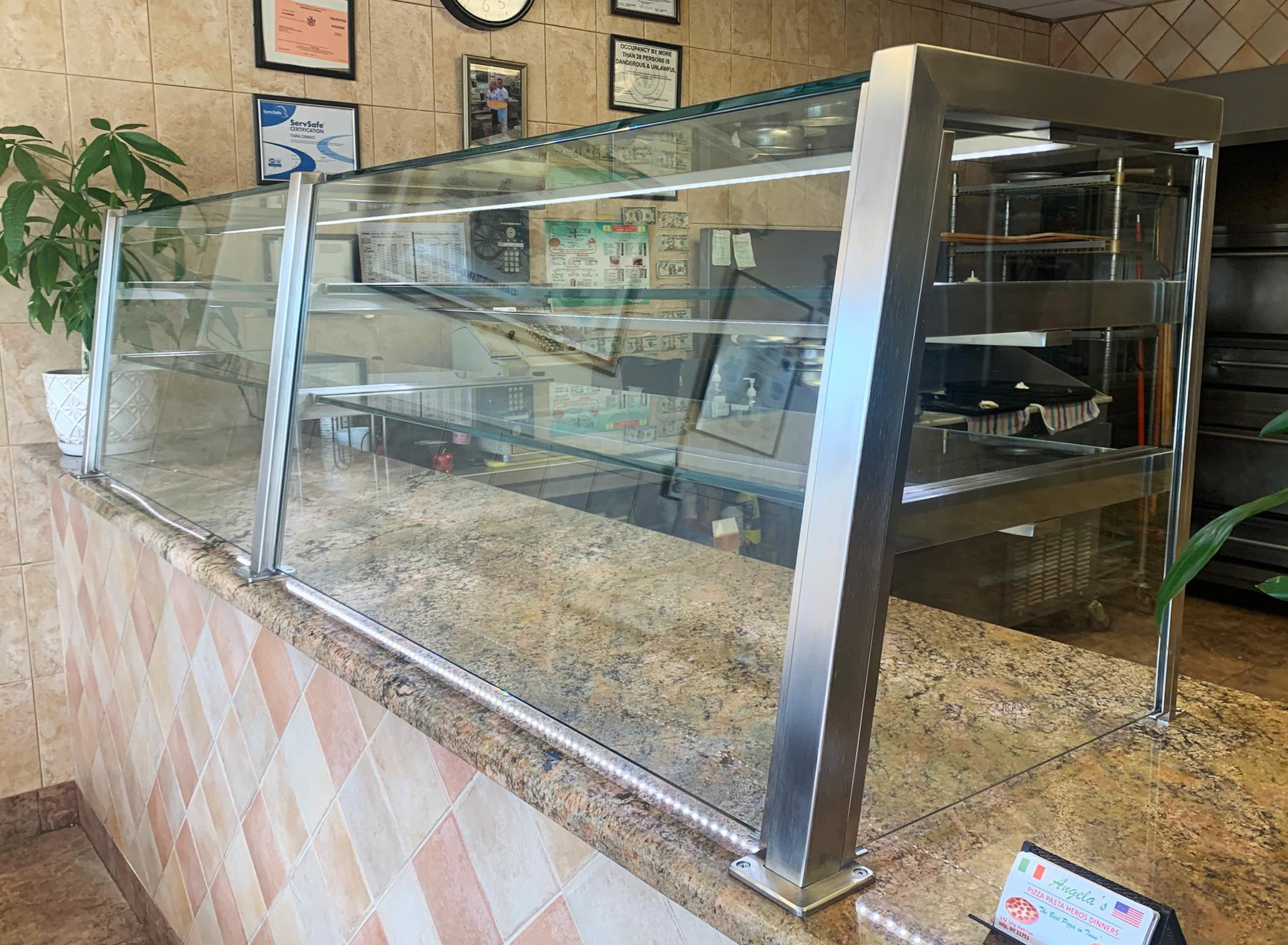 Satin Stainless Steel Food Shield | Angela's Pizza, Islip, NY