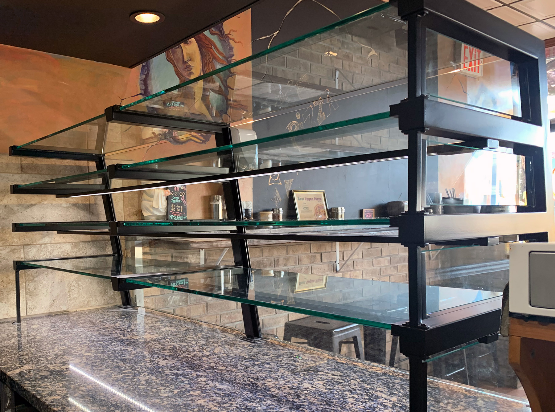4-Tier Power-coated Matte Black Food Shields with LED lights | 3 Brothers Pizza, Rockville Centre, NY