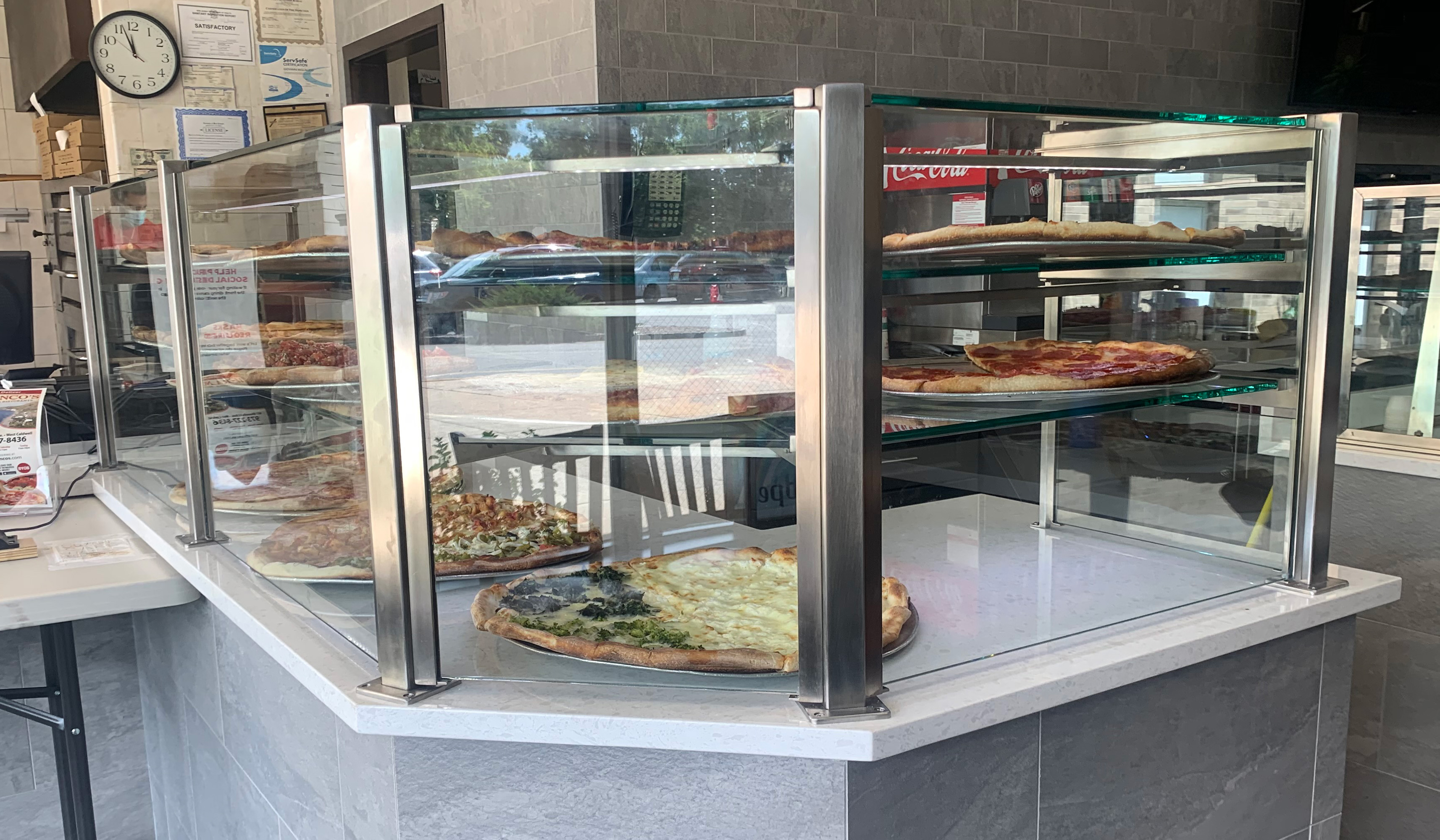 Satin Stainless Steel Food Shields with LED Lights | Franco's Pizza - West Caldwell, NJ