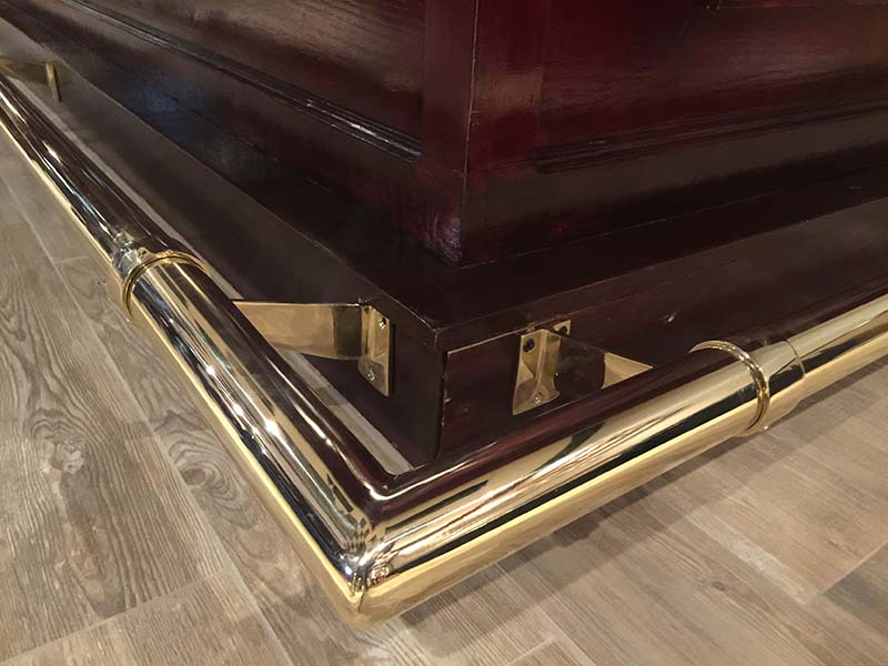 Polished Brass Foot Rail with Welded Corner