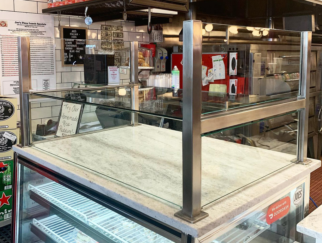 Stainless Steel Food Shield | Joes Pizza & Pasta - Holbrook, NY