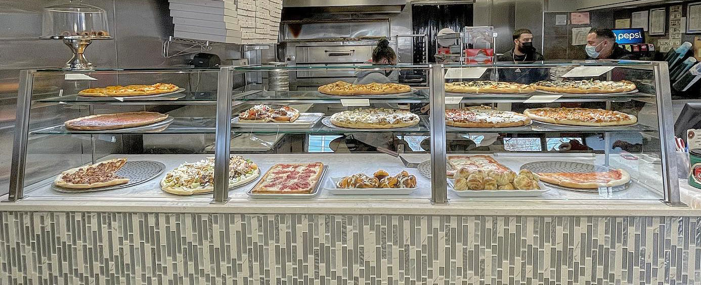 Satin Stainless Steel Food Shield with LED Lights | La Bistro - Coram, NY