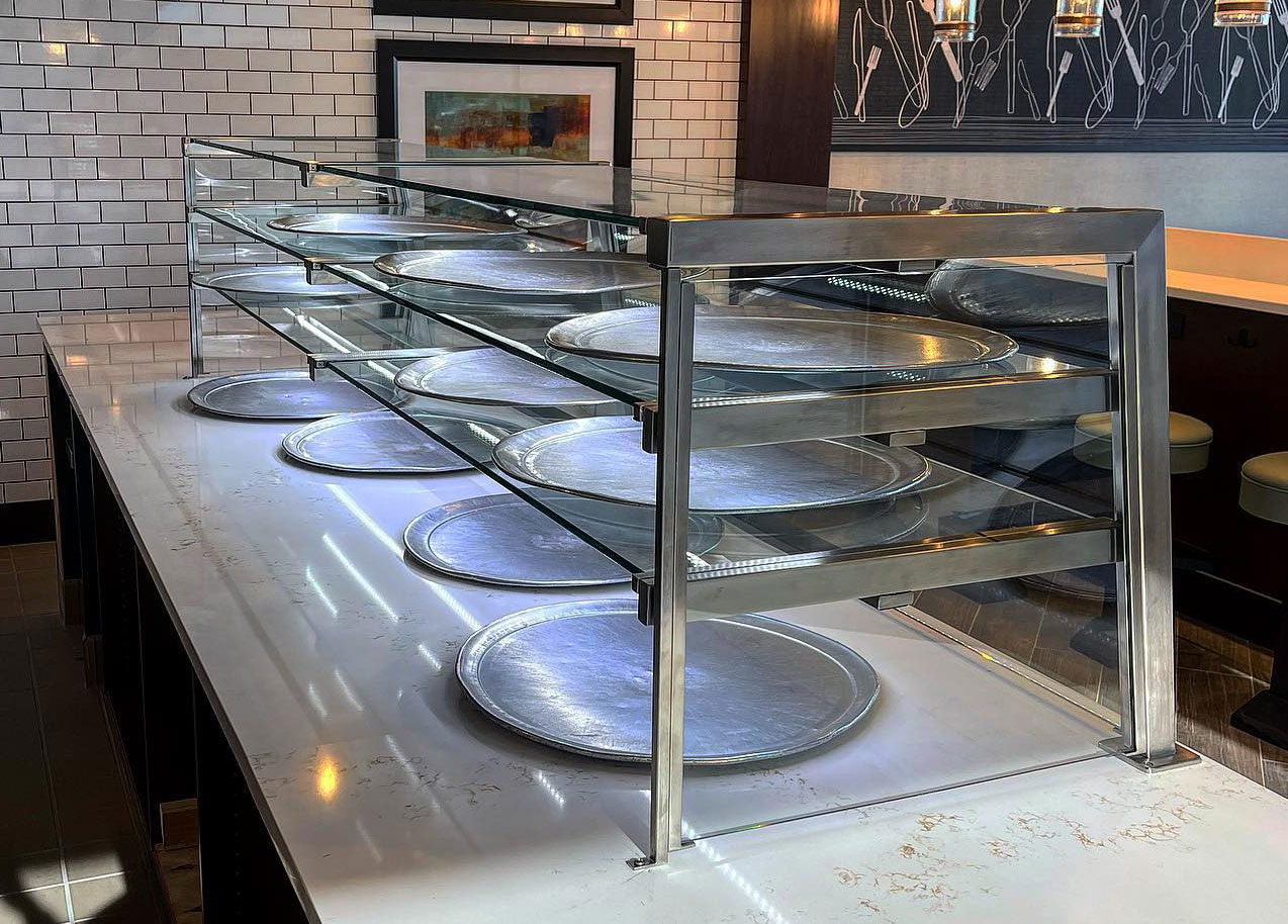 Satin Stainless Steel Food Shield with LED Lights | Mario's Pizzeria - Levittown, NY