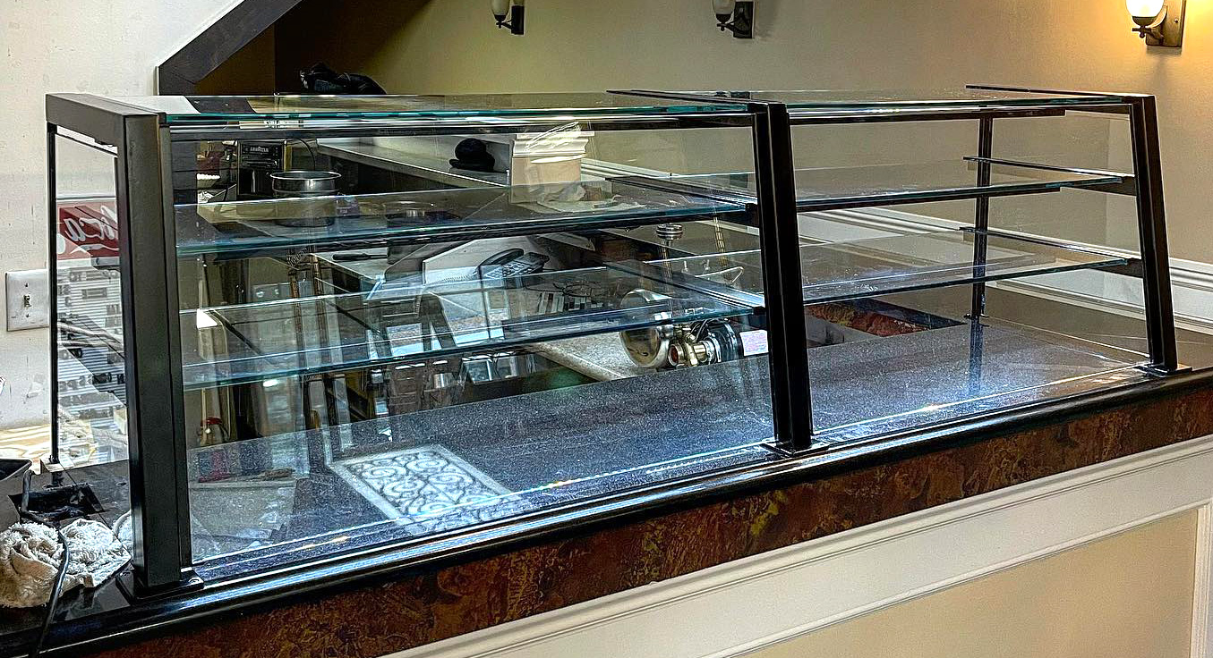 Custom Powder Coated Matte Black Food Shields with LED Lights | 3 Brothers Pizza - Glen Cove, NY