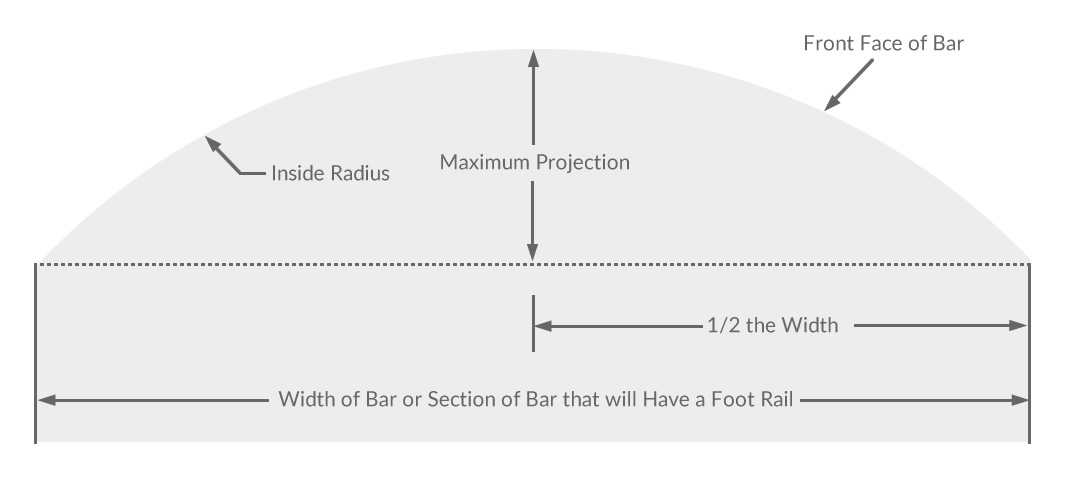 Measuring a bar for a curved foot rail