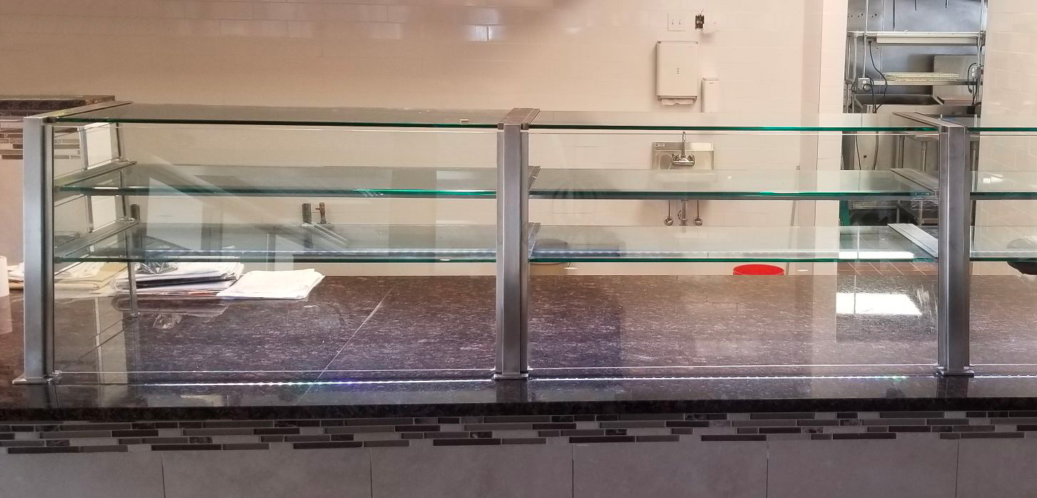 Satin Stainless Steel Food Shield with LED Lights | Michael Angelo's Pizzeria, Riverhead, NY