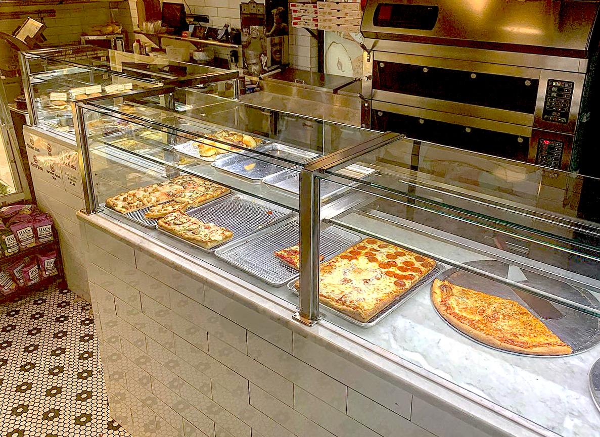 Satin Stainless Steel Food Shields with LED Lights | Mott Haven Bagel, Bronx NY