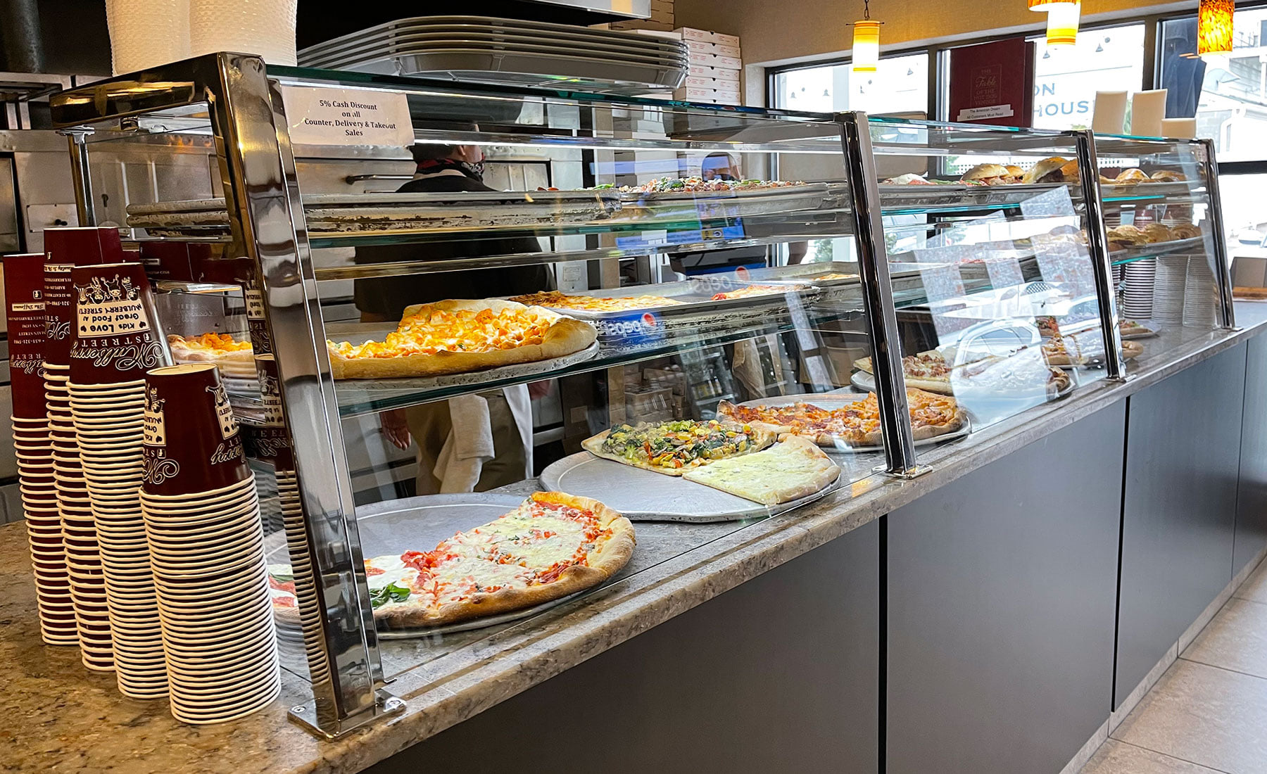 Polished stainless steel food shields with LED lights  - Mulberry Street, Babylon, NY
