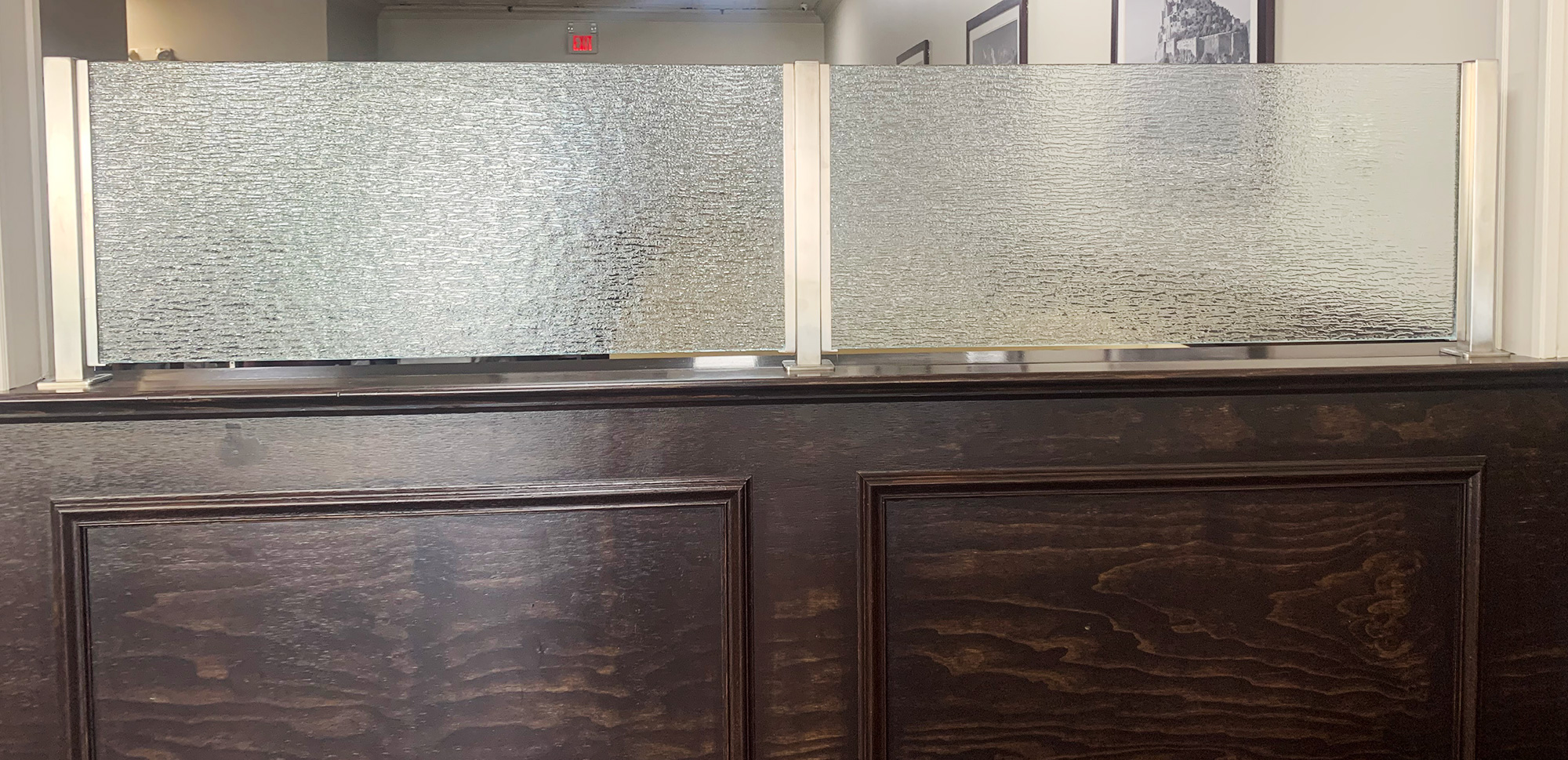 Satin Stainless Steel Partitions with Rain Glass | Franco's Pizza - West Caldwell, NJ