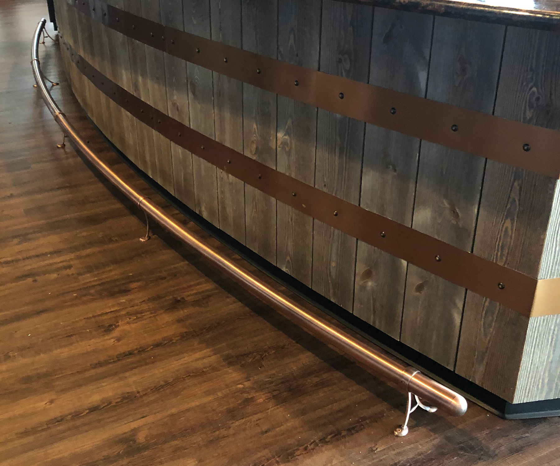 Antique Copper Curved Foot Rail | Pine Hill Country Club, Manorville, NY