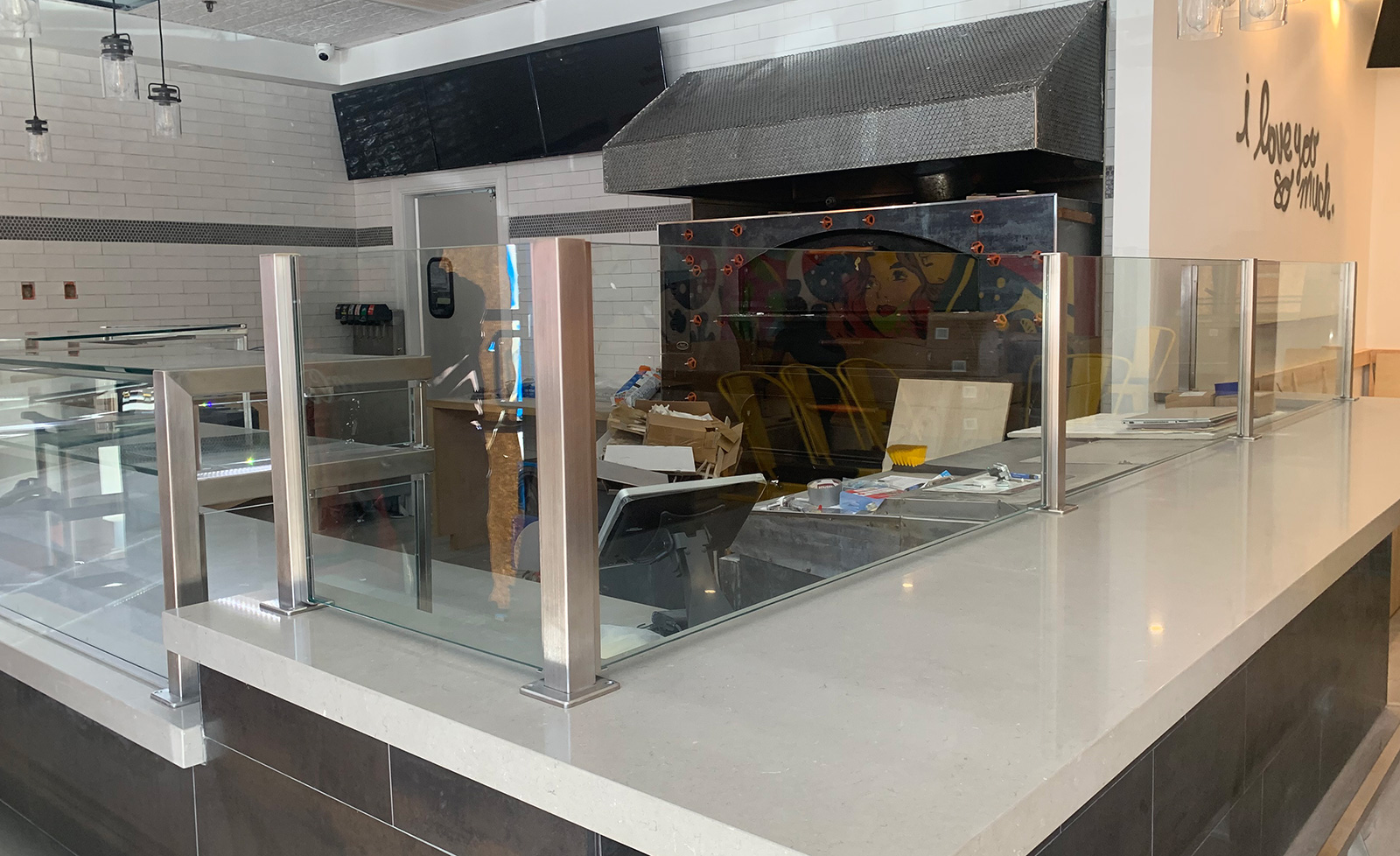 Satin Stainless Steel Food Shield with LED Lights | Pizzabar 141 - Woodbury, NY