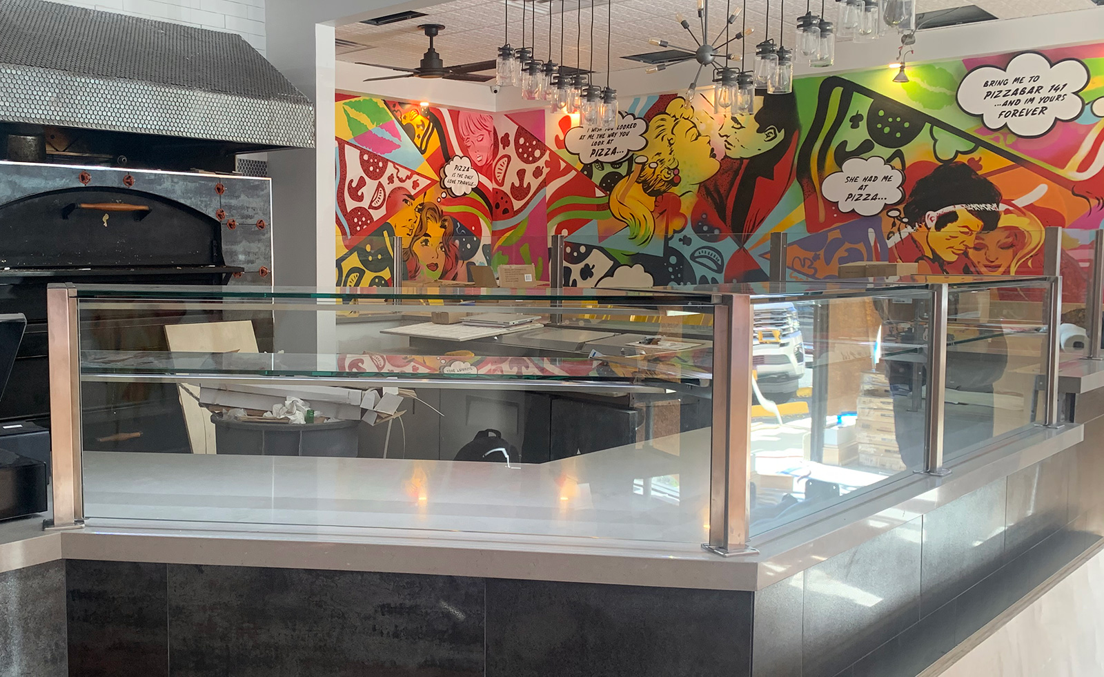 Satin Stainless Steel Food Shield | Pizzabar 141 - Woodbury, NY