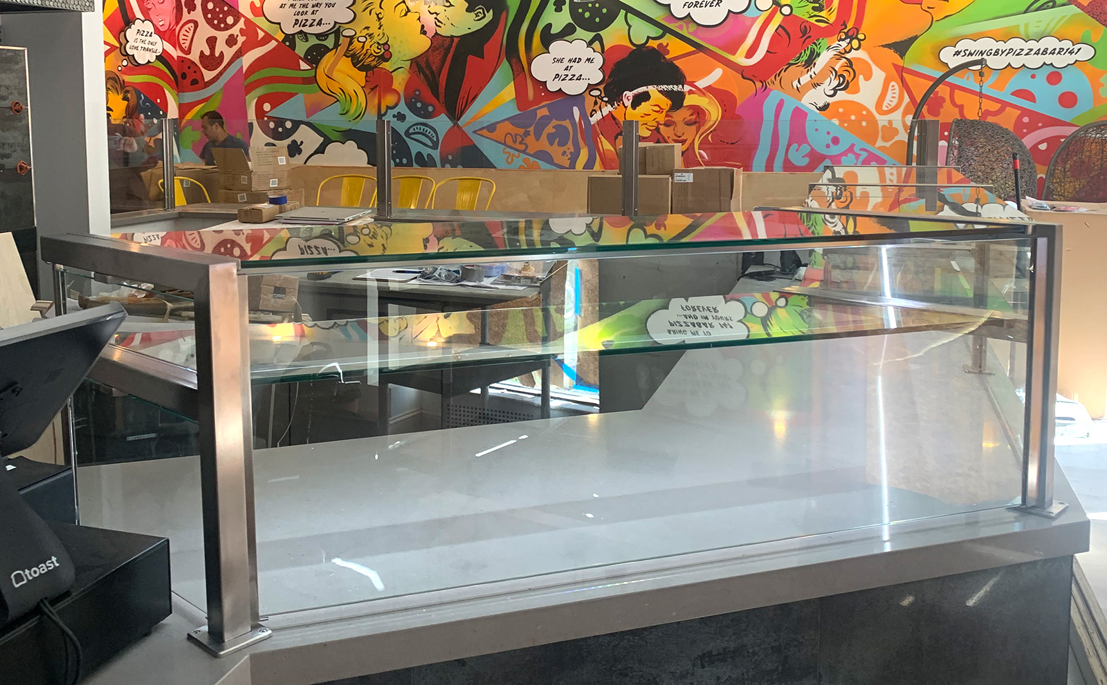 Satin Stainless Steel Food Shield | Pizzabar with LED Lights 141 - Woodbury, NY