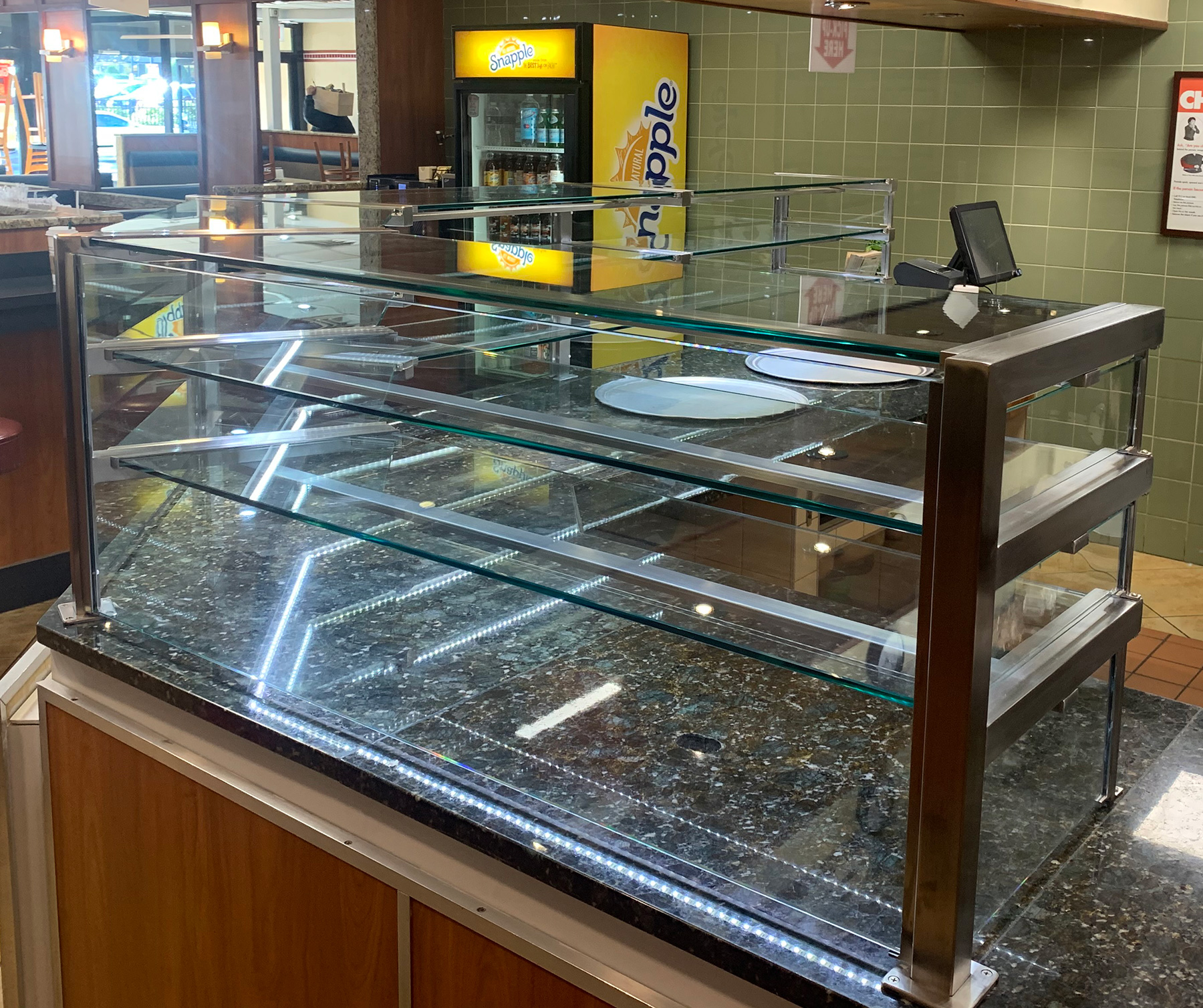 Satin Stainless Steel Food Shields with LED Lights | Rosa's Pizza, Great Neck, NY