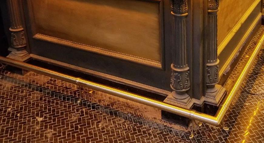 Satin Brass Foot Rail with Model 103 Brackets - Valerie, New York, NY