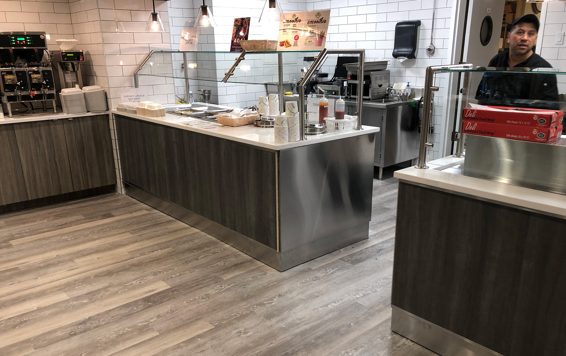 Satin Stainless Steel Food Shields with Clips | Office Cafeteria - Garden City, NY