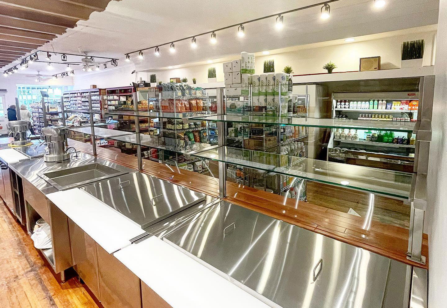 Satin Stainless Steel Food Shield and Partition Posts | Second Nature Markets - Southhampton, NY