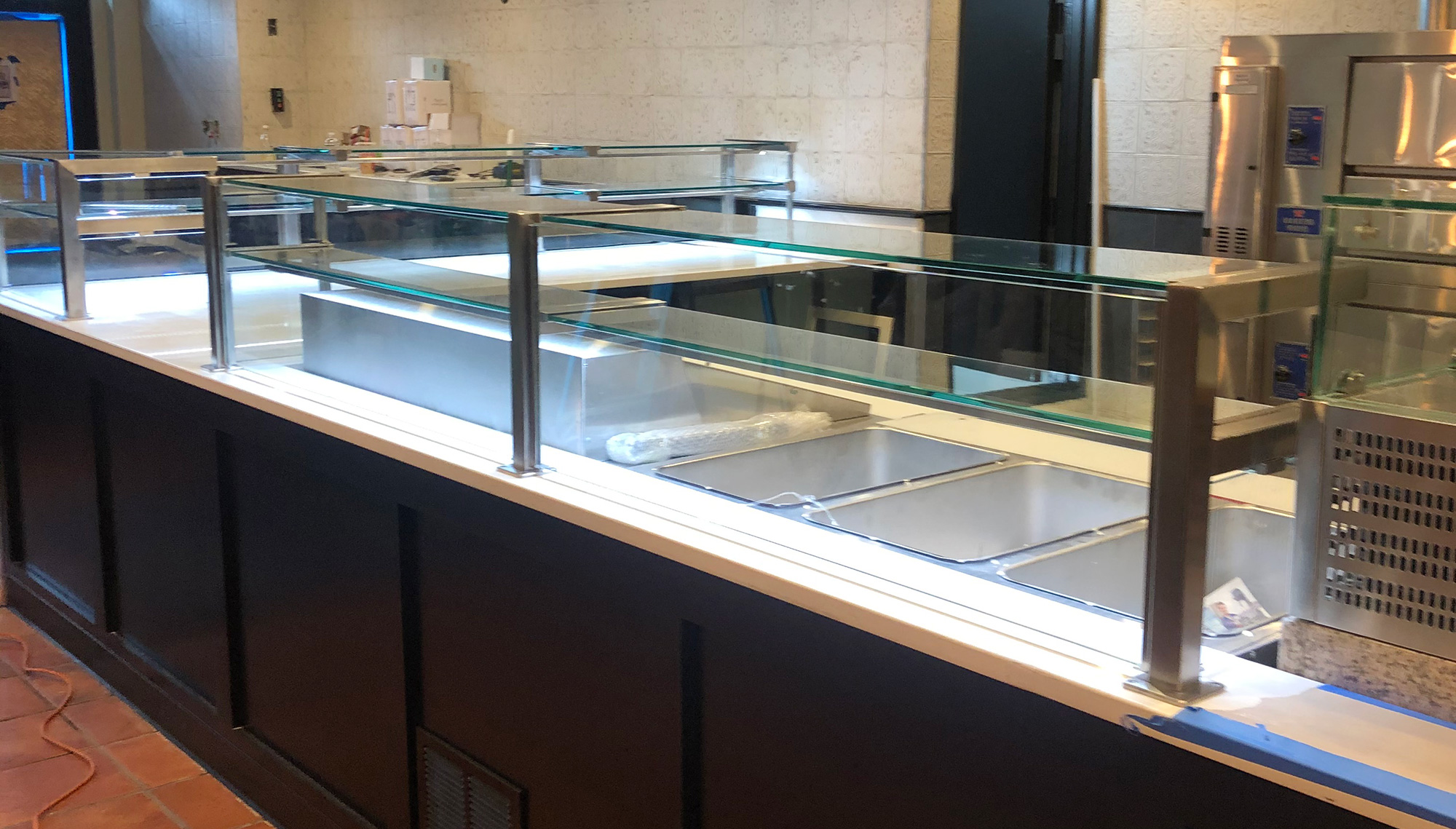 Satin Stainless Steel Food Shields with LED Lights | Joe's Pizzeria - Bronx, NY