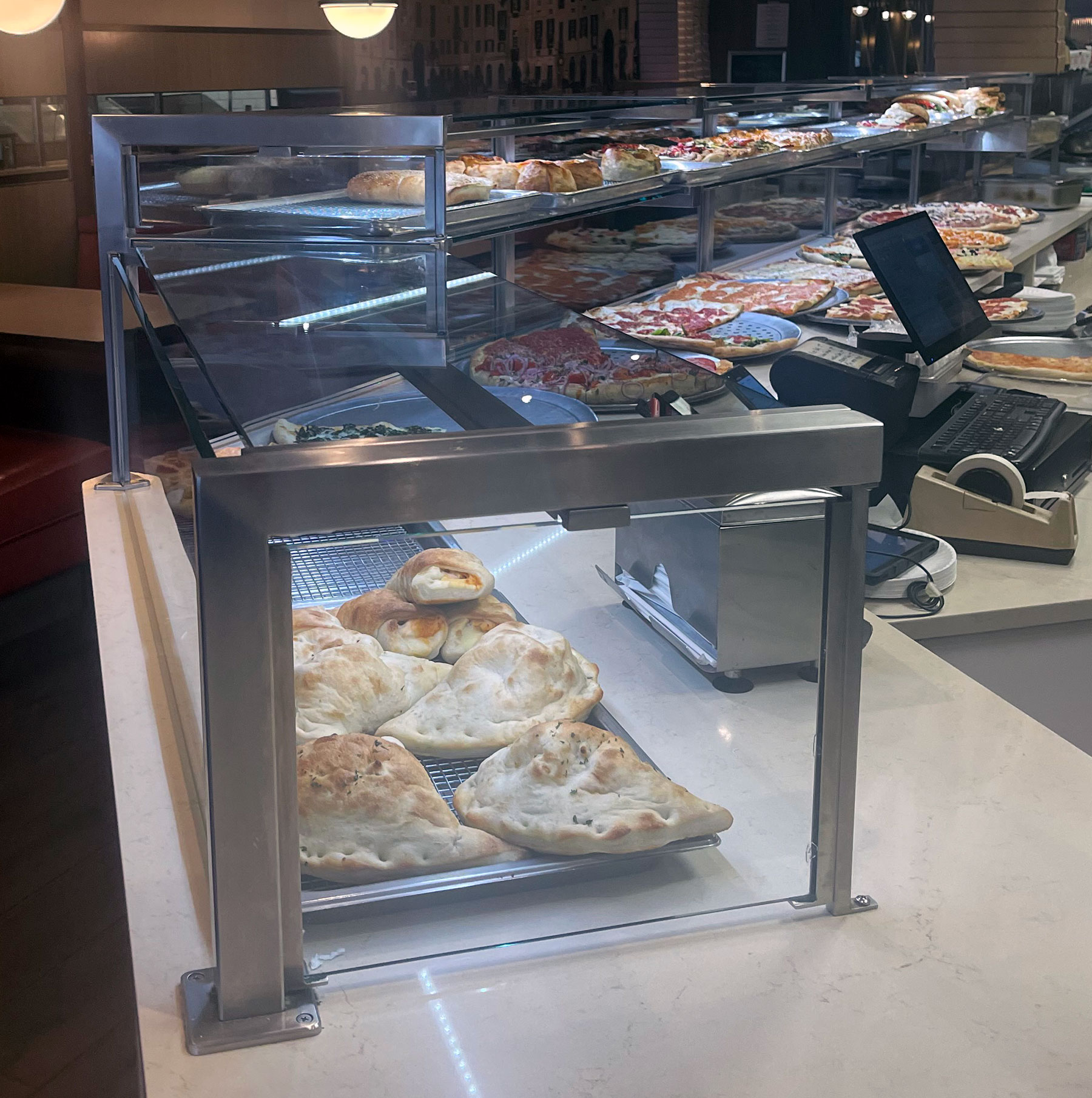 Satin Stainless Steel Food Shields with LED Lights - Alitalia Pizzeria