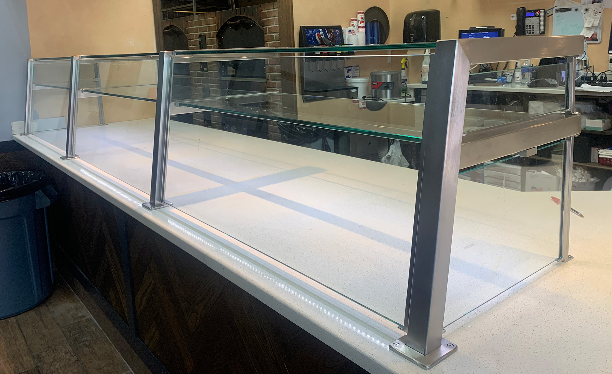 Satin Stainless Steel Food Shields with LED Lights - Giovanni's Pizza and Restaurant, Wappinger's Falls