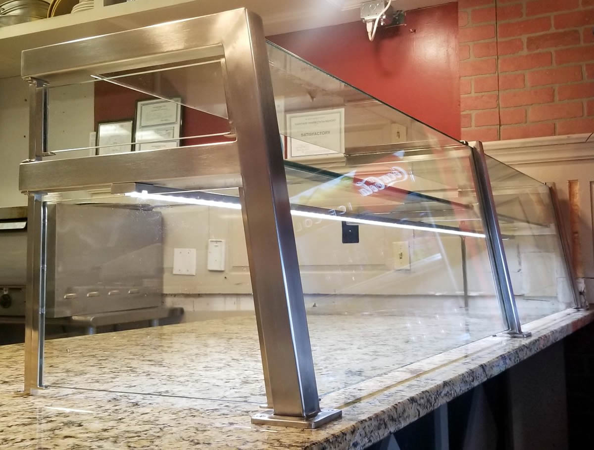 Two Tier Pizzeria Food Shield with LED Lights