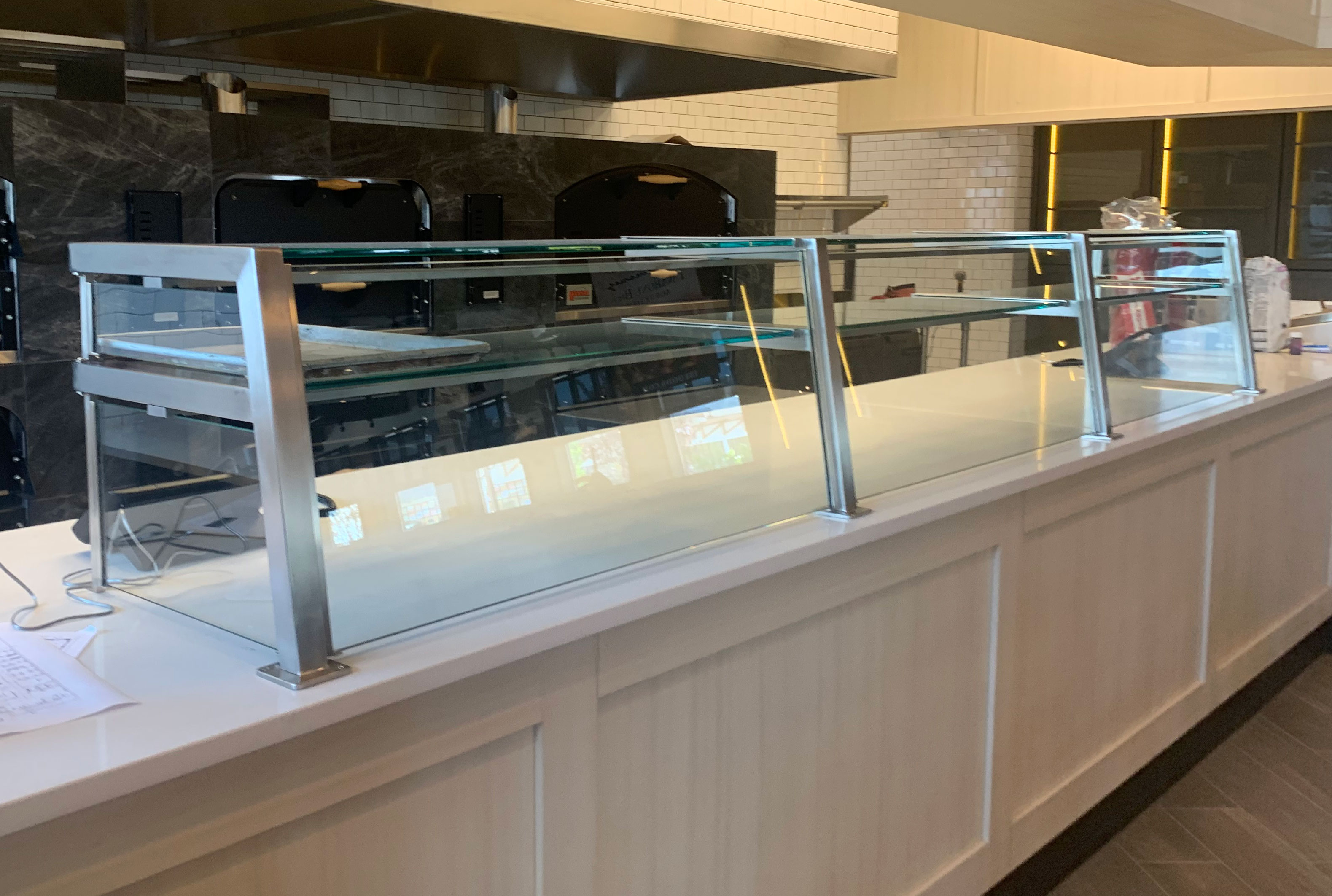 Two Tier Satin Stainless Steel Pizzeria Food Shield with LED Lights
