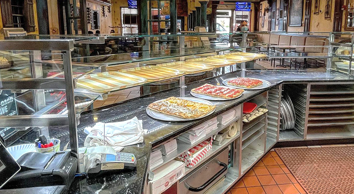 Satin Stainless Steel Food Shield with LED Lights | Victor's Pizza and Pasta - Melville, NY