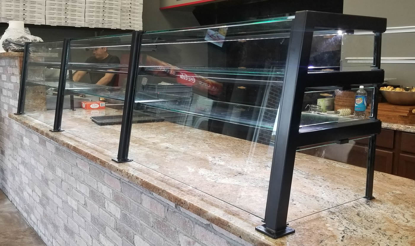 Oil Rubbed Bronze Food Shield with LED Lights - Vincent's Pizzeria