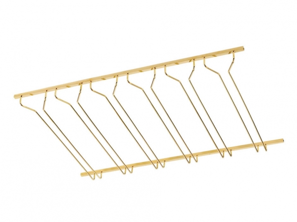 Model CMGR-3 Coated Polished Brass Channel Mounted Bar Glass Rack 3' - ESP Metal Products & Crafts